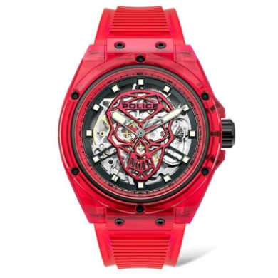 AUTO TRANSLUCENT man POLICE watch red